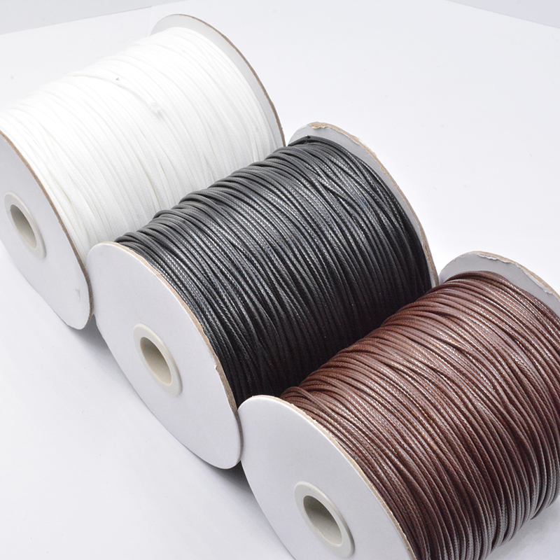 Black Brown White 10M/Lot Waxed Cotton Cord String Strap 0.5/0.8/1.0/1.2/1.5/2.0/2.5/3.0mm DIY String Beads For Jewelry Making