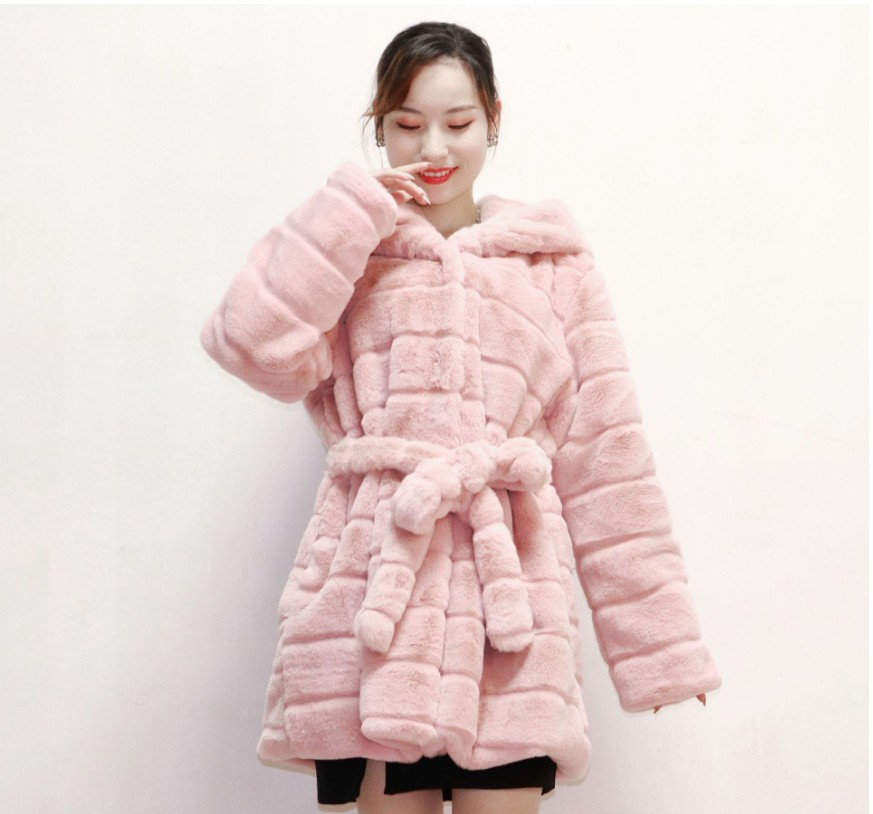 2019 New Autumn/winter Fur Jacket For Ladies High Quality Faux Rabbit fur Hoodie With Thick <font><b>Belt</b></font> For Warm Ladies Jacket image