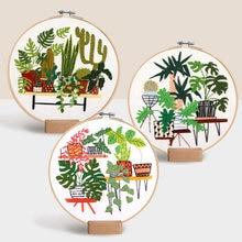 Jardim botânico handwork plantas padrão bordado diy starter kit fita roscas ferramentas de costura impresso artesanato ponto cruz casa