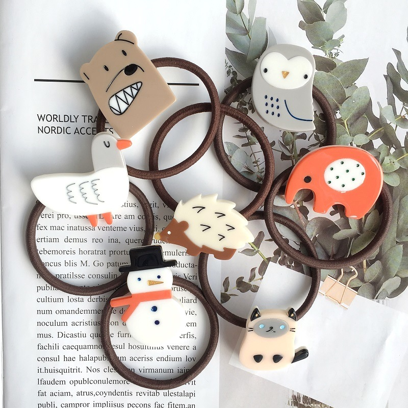 Acrylic Christmas Snowman Pine Fox Cat Hair Rope Simple Lovely Girl Baby Elastic Hair Bands Best Selling 2019 Products Women