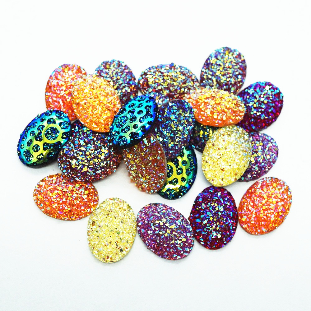 50PCS/lot Oval 13mmx18mm Natural Ore Style Flat Back Resin Cabochons Cameo For Make Bracelet Necklace Women Earring  Supply