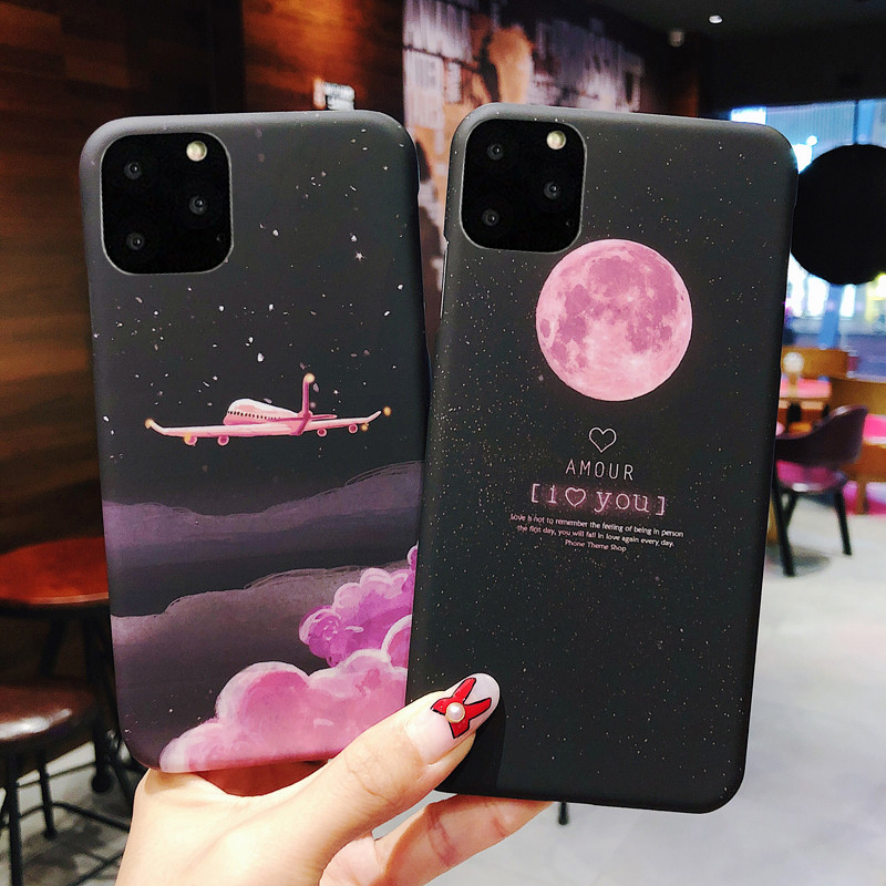 USLION Shockproof Moon Aircraft Phone Cover For iPhone 11 Pro Max X XR XS Max 6S 7 8 7Plus Hard PC Back Case Star Fitted Cover