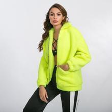 Женский флуоресцентный Неон зеленый зимний теплый кашемировый пальто свободная повседневная верхняя одежда Длинные Топы карманы на молнии куртки из искусственного меха
