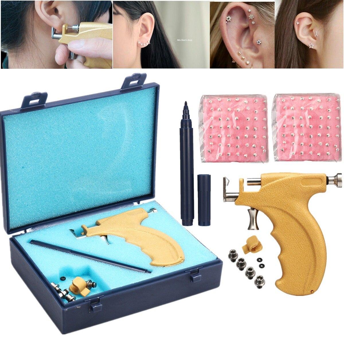 3mm/4mm/5mm Professional Ear Stud Earring Piercing Machine Tools Kit Body Piercing Free Studs Set 2019 New