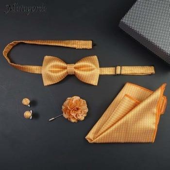 цена на Man Tie Gift Box Cufflink+Bowtie+Hanky+Cuff-link Pocket Square Handkerchief Paisley Houndstooth Borboleta Gravata Holiday Gifts