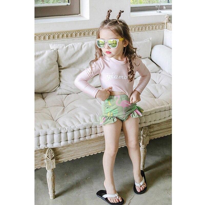 Hot Selling Bathing Suit Children Retro Bathing Suit Retro Split Type Two-Piece Set With Swim Cap Girls Small CHILDREN'S Sun-res