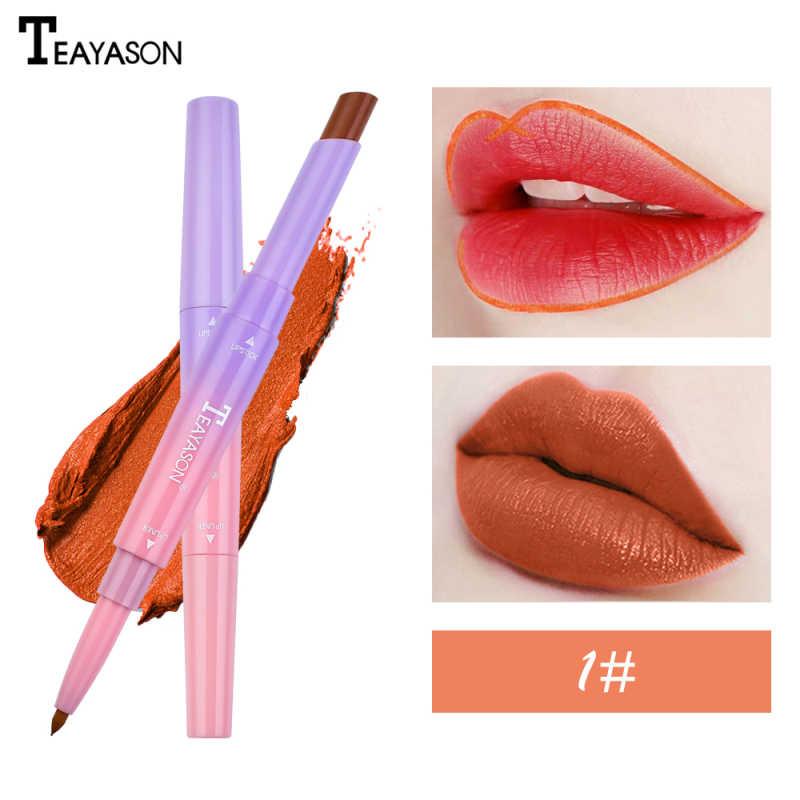 Double tête longue durée imperméable crayon rouge à lèvres mat lèvre Liner maquillage lèvres crayon chaud