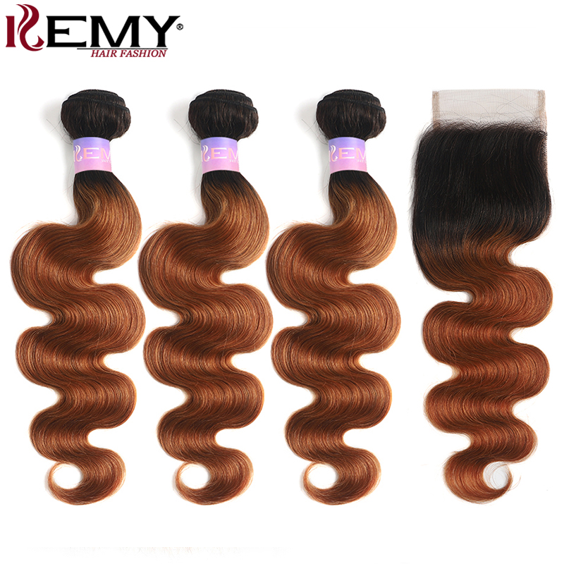 T1B/30 Ombre Brown Human Hair Bundles With Closure 4x4 Brazilian Body Wave Hair Weave Bundles With Closure KEMY Non-Remy Bundles
