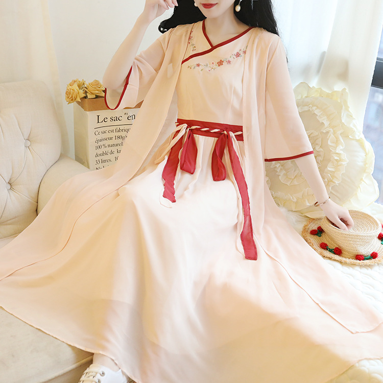 Retro Elegant Immortal Women Dress National Wind Embroidery Flowers Chinese Clothing Dress Chiffon Cardigan Two-Piece Set