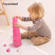 Math Toys for Family Montessori Pink Tower Early Learning Game Educational Wooden Sensory Children