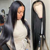 Tiempo de 40 pulgadas recto pelucas delanteras de encaje pelucas de cabello humano para las mujeres negras pelo brasileño 13x4 transparente cierre Frontal de malla pelucas