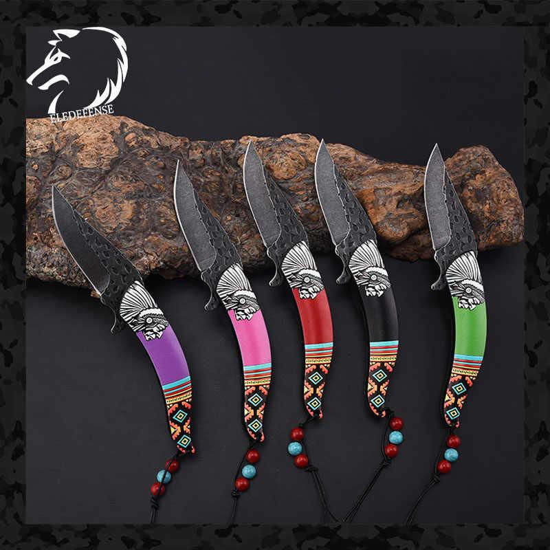 5/renkli yeni gelenler hintliler ulusal tarzı CS gitmek bıçaklar Mini cep katlanır bıçak silah hayatta kalma aracı avcılık EDC adam kadın