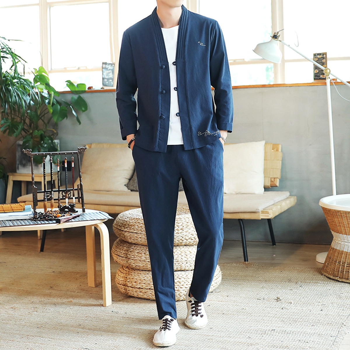 Chinese-style 2019 New Style Jacket Suits Loose-Fit Korean-style Cardigan MEN'S T-shirt Casual Spring And Autumn Cotton Linen Se