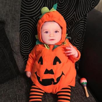 2020 noworodka pajacyki dla niemowląt chłopcy dziewczęta z długim rękawem wygodne moda Halloween dynia z kapturem zimowe body Romper tanie i dobre opinie TELOTUNY COTTON O-neck Zestawy Swetry Pełna REGULAR Pasuje prawda na wymiar weź swój normalny rozmiar Bawełna czesana