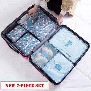 Image 5 - 7 pièces/ensemble bagages sac de voyage valise vêtements sac de rangement cosmétiques emballage cube organisateur bagages voyage bagages sac accessoires