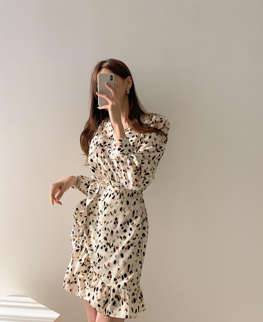 H92a93d595a4049a69c0b2a026413af3cw - Autumn V-neck Long Sleeves Floral Print Flounced Mini Dress