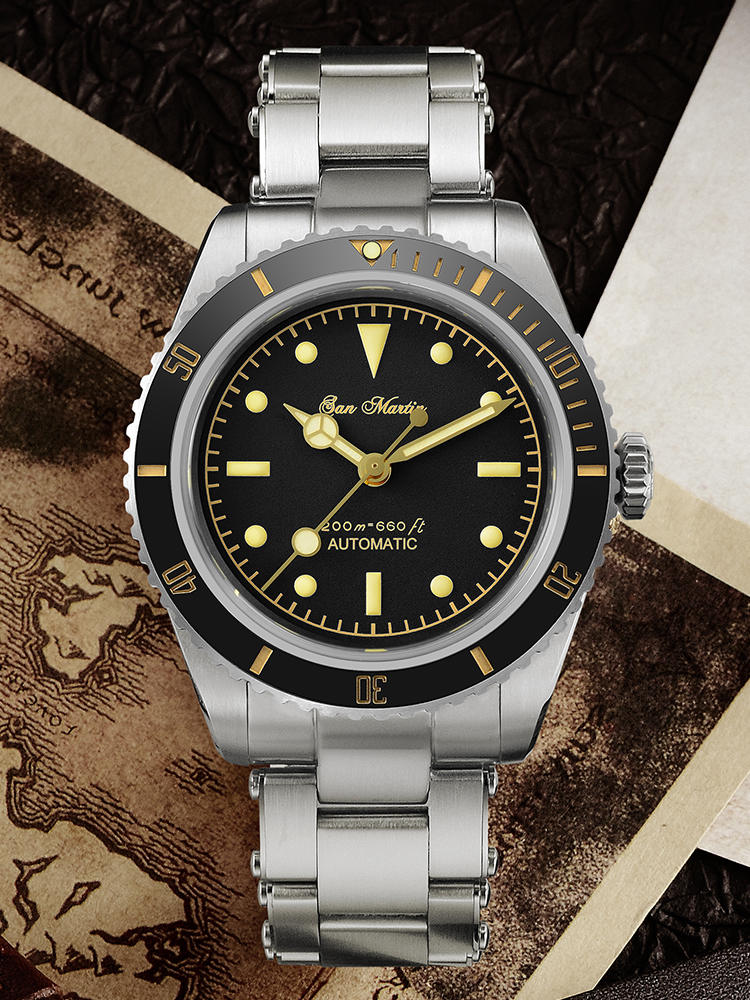 Diver Watch Mechanical-Watches Water-Ghost 20bar San Martin Sapphire NH35 Retro Luminous