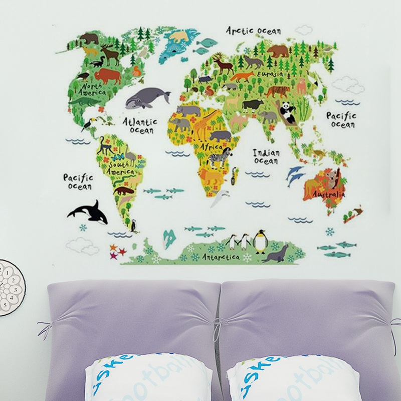 ABKT-Large Kids Educational Animal World Map Removable Decal Art Mural Home Decor Wall Stickers