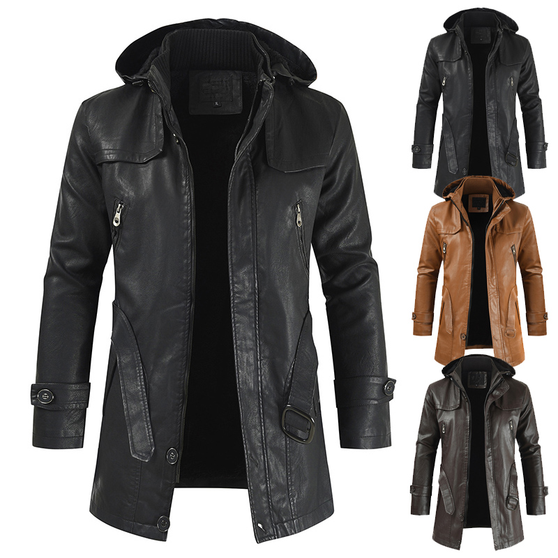 Leather Jacket Men 2019 New Casual Fashion PU Hooded Slim-fitting Leather Jacket For Men