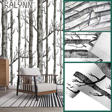 Birch Forest Self-Adhesive 3D Wallpaper For Living Room Bedroom Wall Sticker Vinyl Contact Paper Black White Wood Mural 6m*45cm