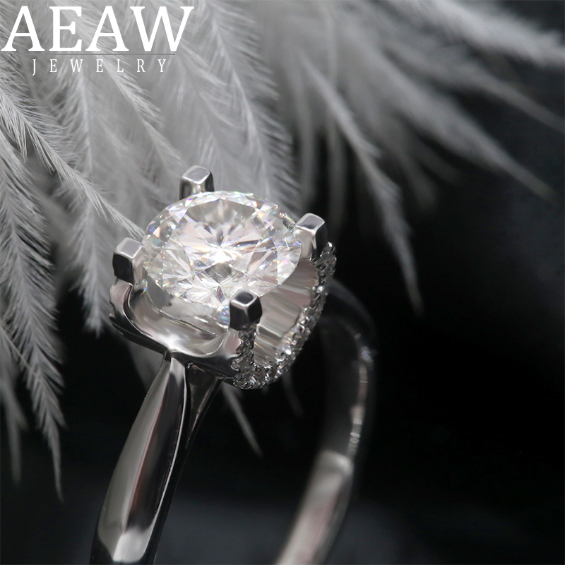 AEAW Simple Solid 14K White Gold 6.5mm Round Cut Moissanite Diamond Ring Emgagement Ring Wedding Ring DF Color For Women