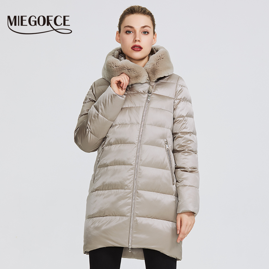 MIEGOFCE 2019 Coleção de Inverno das Mulheres casaco Quente Casaco de Inverno À Prova de Vento das Mulheres Stand-Up Collar Com Capuz e parka De Pele De coelho