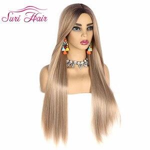 "Image 5 - Suri peluca larga recta pelo rubio dorado Ombre negro raíz pelucas sintéticas para mujeres Cosplay pelo envío gratis resistente al calor 30"""