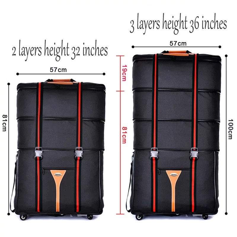 32/ 36 inch Large capacity Oxford cloth rolling luggage bag abroad to study and move to move folding trolley suitcase travel bag
