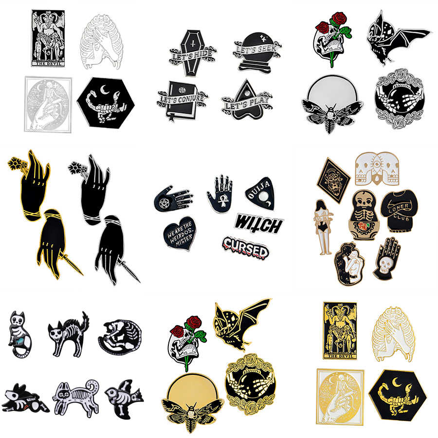 4-7 Pcs Bros Set Punk Penyihir Gelap Iblis Skull Magic Ball Bee Bat Enamel Pin Denim Shirt Lapel pin Gothic Perhiasan