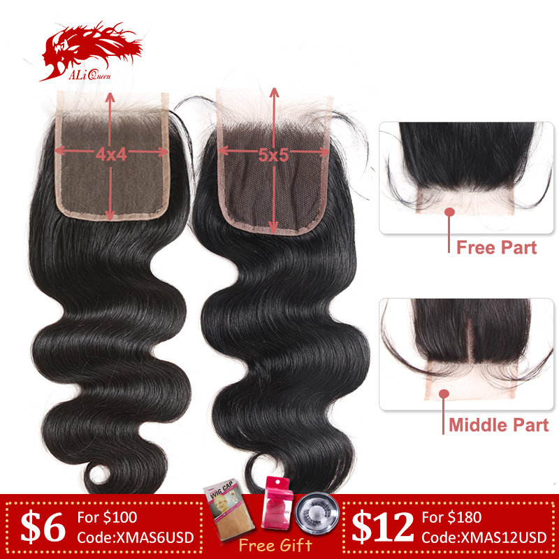 Ali Queen 4x4 / 5x5 Transparent Lace Closure Pre-Plucked With Baby Hair 10~20inch Brazilian Body Wave Virgin Human Hair Closure