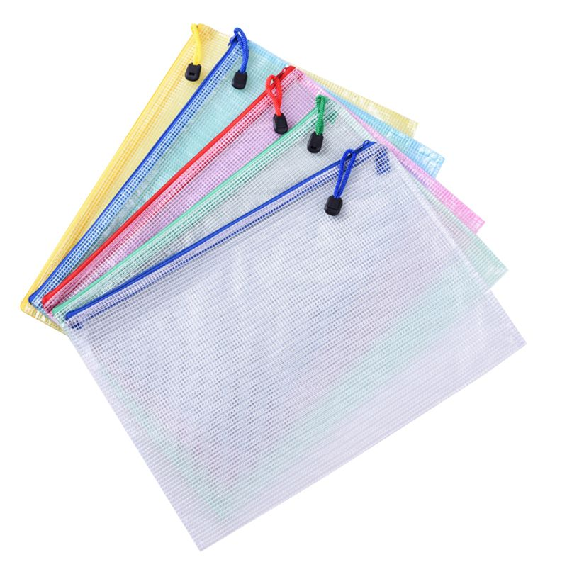 10pcs A4 Size Mesh Document File Bags Storage Pouch With Zipper For Cosmetics Offices Supplies Travel Accessories, 5 Colors