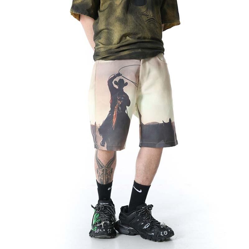 UNCLEDONJM Mens Painting Shorts Summer Cotton Shorts Men Fashion Brand Boardshorts Breathable Kanye Male Casual Shorts MDK10