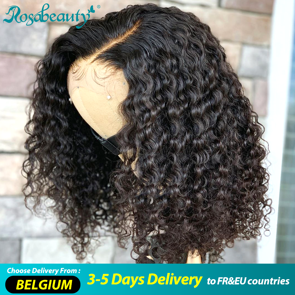 Rosabeauty bouclés court Bob 2x6 fermeture dentelle avant perruques de cheveux humains pré plumé partie frontale perruque pour les femmes noires vague profonde