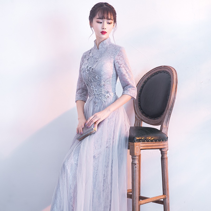 Greyish Black Chinese Style Banquet Evening Dress Women's 2019 New Style Summer Annual General Meeting Dress Dignified Glorious