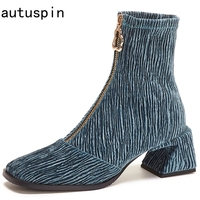autuspin Newest Women Boots Winter Autumn Velvet Thick Heels Botas Female Elegant Party Wedding Office Casual Shoes Black Blue