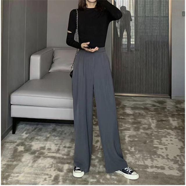 2021 Retro de Color sólido salvaje recto ancho pierna Pantalones mujer primavera nueva moda Coreana de cintura alta pantalones largos 5