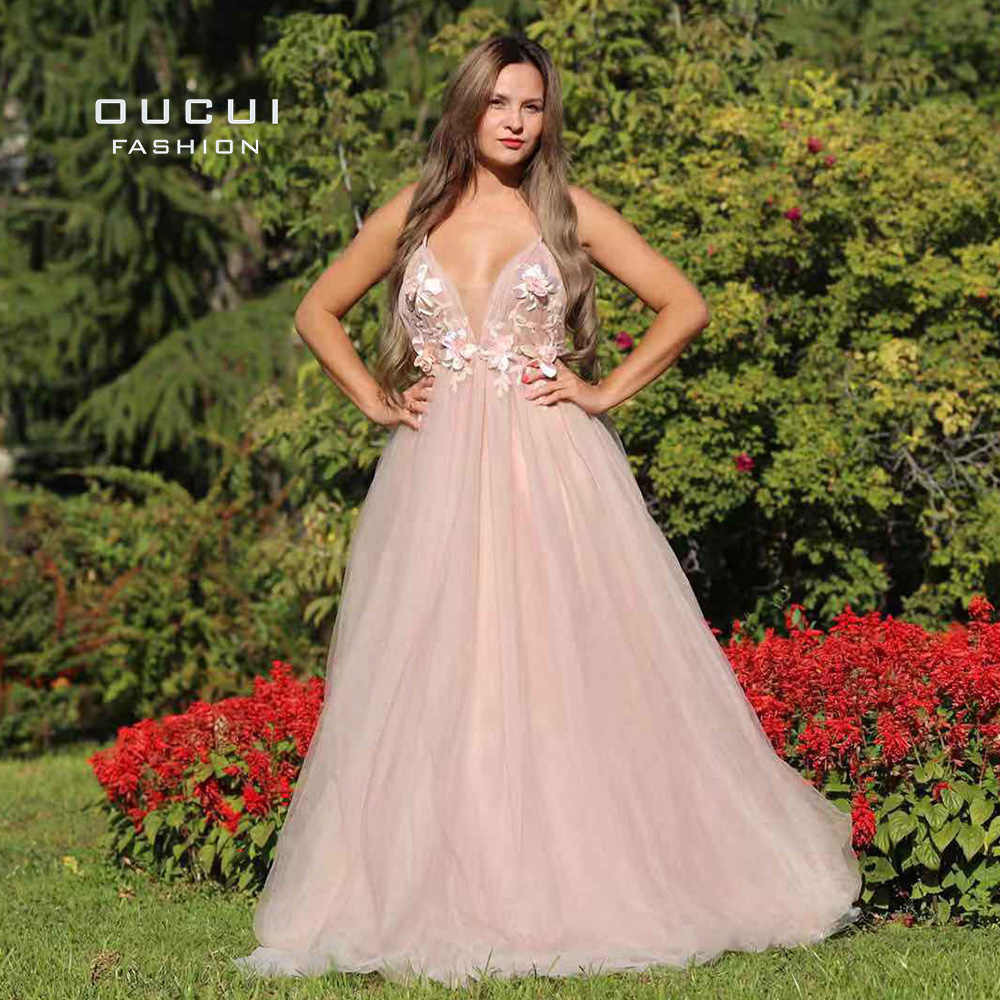 Donne Sexy Vestito Da Sera Lungo 2019 Robe De Soiree Backless Handmade 3D Fiore Romantico Cinghie di Spaghetti Prom Dress OL103253-1