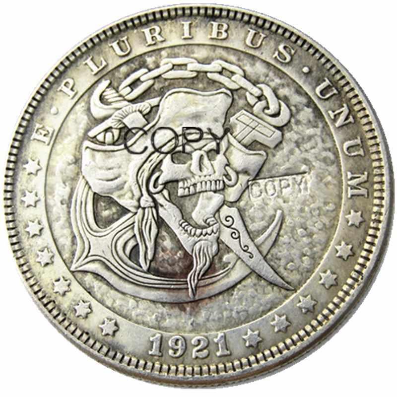 HB (79) ONS Hobo 1921 Morgan Dollar Skull Zombie Skeleton Verzilverd Kopie Munten