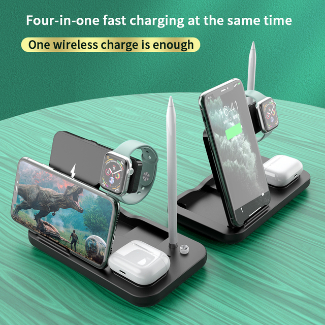 AIXXCO 15W Qi Fast Wireless Charger Stand For iPhone 11 Apple Watch 4 in 1 Foldable Charging Dock Station for Airpods Pro iWatch 2