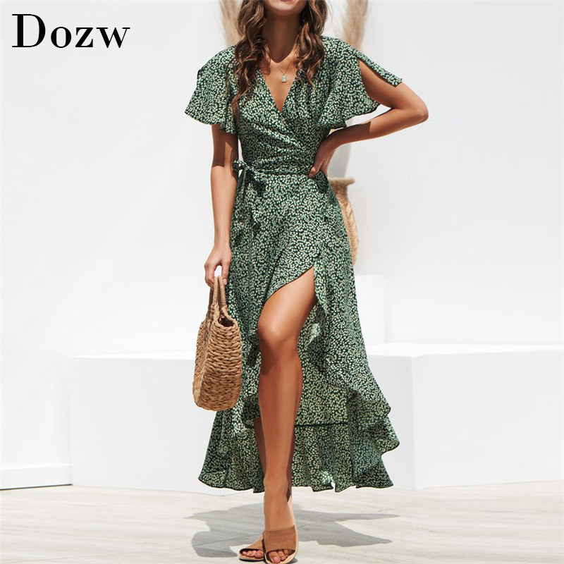 Summer Beach Maxi Dress Women Floral Print Boho Long Chiffon Dress Ruffles Wrap Casual V-Neck Split Sexy Party Dress Robe(China)