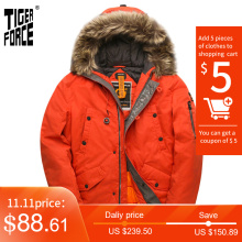 Man Coat Hooded-Jacket Parka QUILTED Extremely Tiger-Force Water-Resistant Men's Cold-Russia