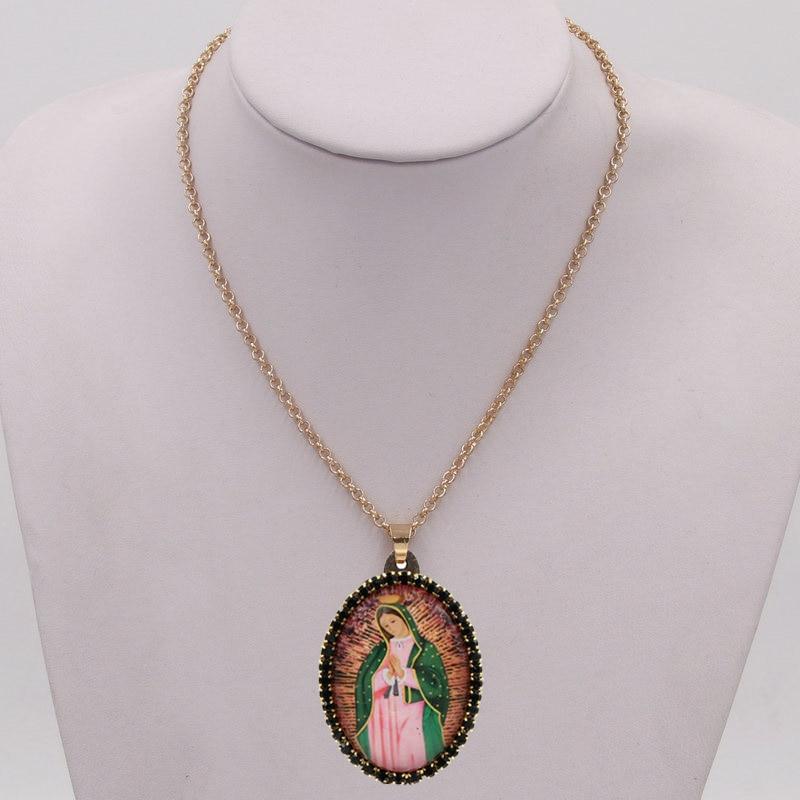 Модное колье для женщин, изготовлено вручную девственная Мария кулон ожерелье с кристальными камнями свитер ожерелье для женщин, ювелирные...