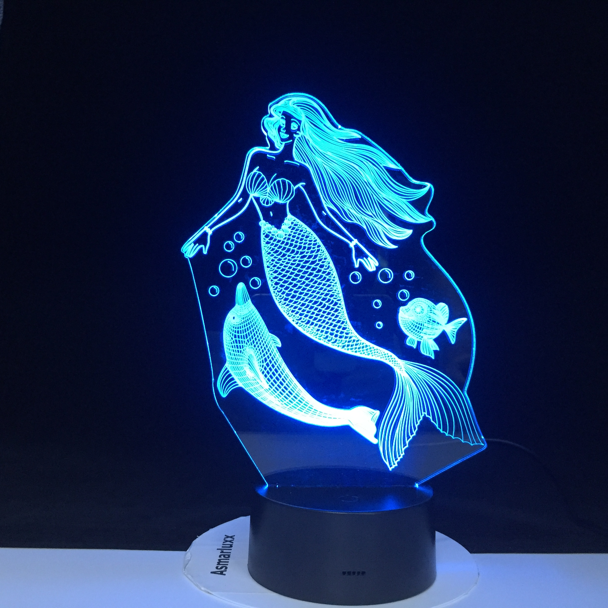 Fairy Tale Mermaid With Dolphins Princess Night Light LED Baby Sleeping 3D Lamp Home Decor Party Xmas New Year Gift