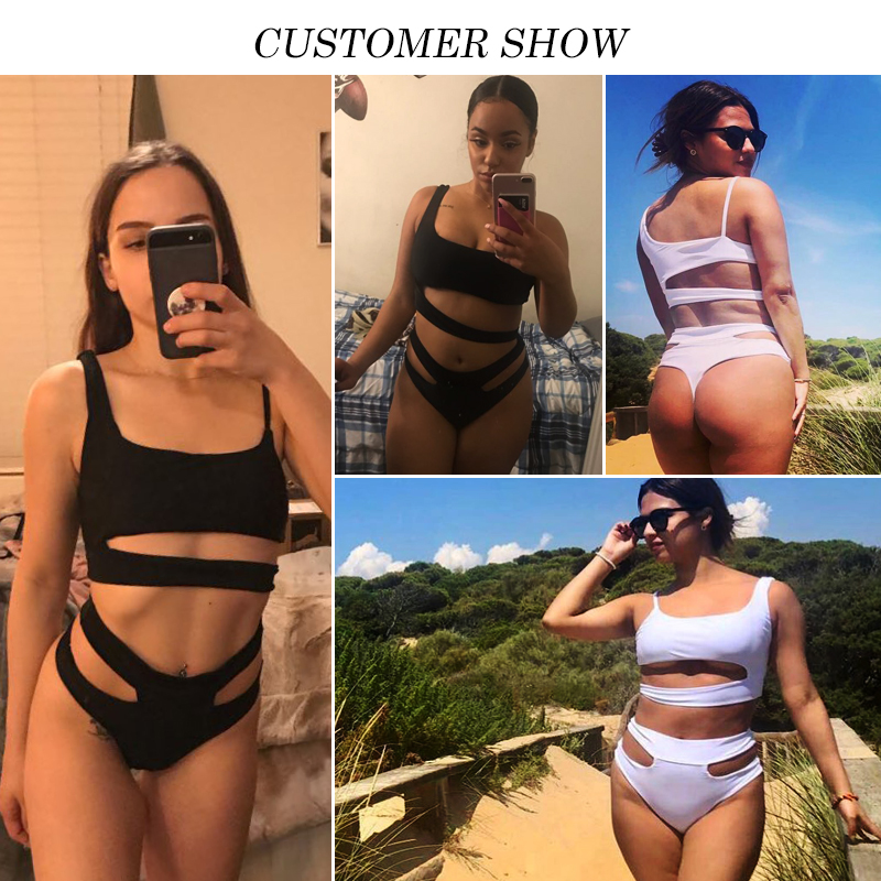 High waist sexy bikini Push up brazilian swimsuit black swimwear High cut bathing suit women bathers One shoulder biquini 2019