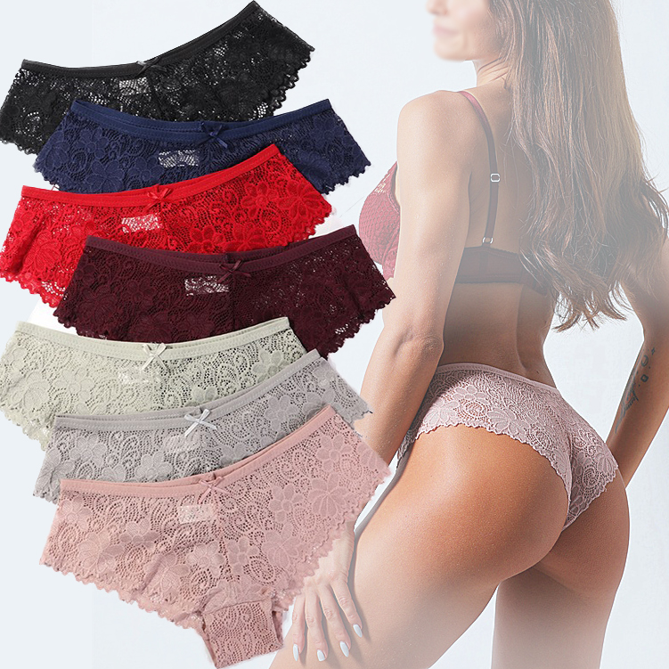 Lace Panties Ice Silk Seamless Panty Women Low Rise Sexy Transparent Floral Briefs Soft Cotton Crotch Underpants Underwear