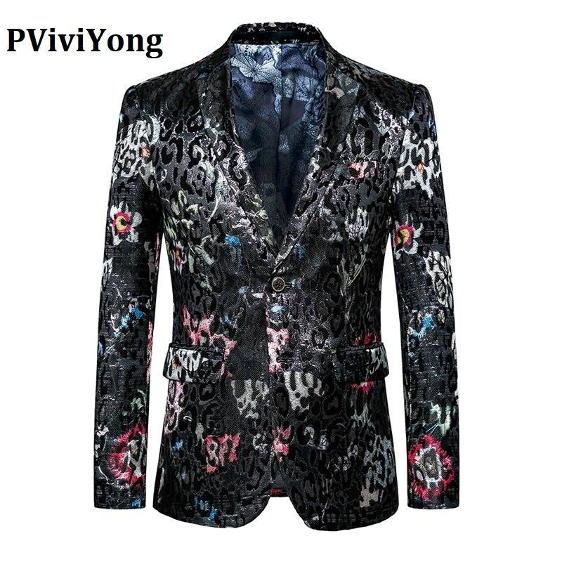 PViviYong Brand 2019 High Quality Men's Suit Top,black Men Blazer Leisure Suit Men Slim Fit Host Suit Jacket 827