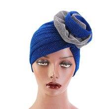 Nowy dwukolorowy jasny kolor jedwabny duży damski stroik elegancki Shinny Turban muzułmański kapelusz w stylu narodowym nakrycia głowy damskie akcesoria do włosów