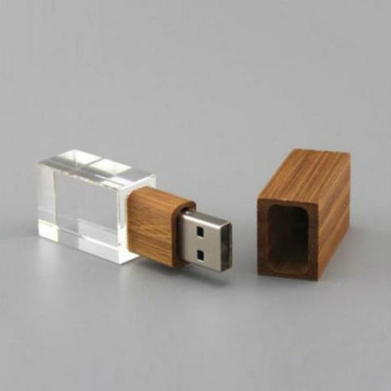 Custom DIY 3D Cystal Inside Logo Wooden Crystal Memory Stick USB 2.0 4GB 8GB 16GB Usb Flash Stick Pen Drive Over 10pcs Free Logo