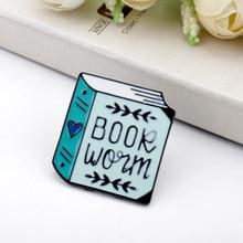 Creativity Pin Brooch Book worm Enamel pin Maker Lapel Artist Brooches book Lover Badges Plant