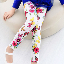 Girls' leggings Spring Summer Girls Leggings Baby Flower Printed baby pants children kids clothes Soft elastic 2-9years old